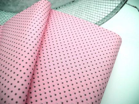 Webware 100% Baumwolle Baumwollstoff Poplin Rosa mit Taupe Tupfen