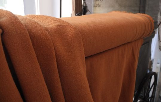 Leicht Elastischer & Weicher Leinenstoff Leinen & Viskose Natur Dark Copper