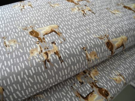 Canvas Baumwollstoff Taschenstoff Dekostoff Grau Rentier Elch