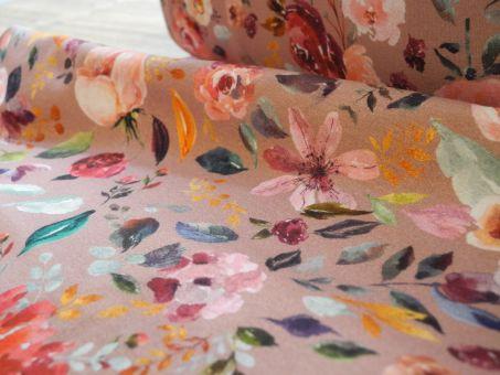 Bio Jersey Baumwolljersey Digitaldruck Wasserfarbe Aquarell Watercolor Flowers