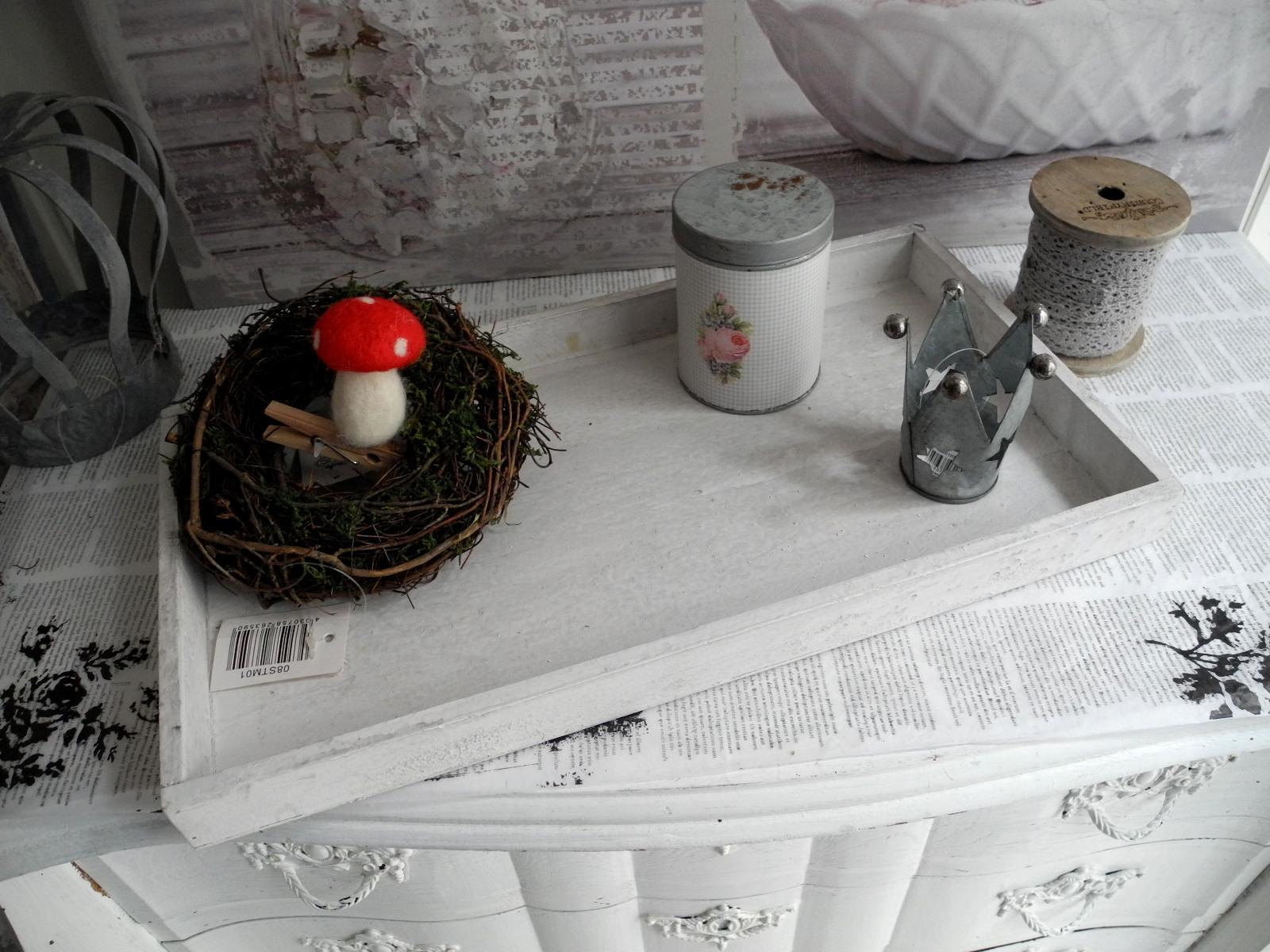 No3 39cm Tablett Schale Weihnachten Gesteck Teller weiß Holz ...